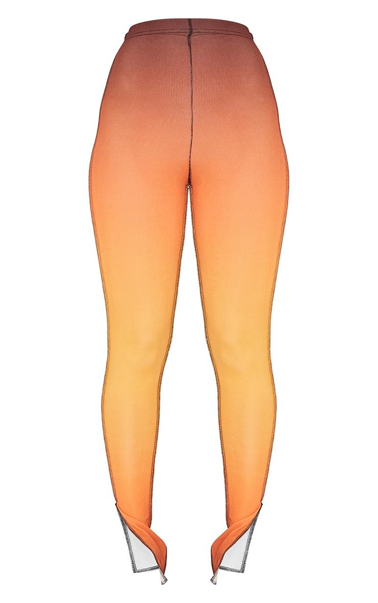 Orange Ombre Rib Contrast Stitch Skinny Trousers 5