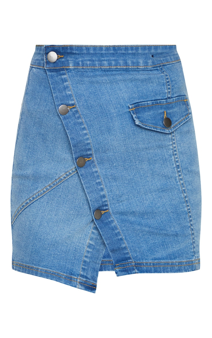 Mid Wash Pocket Button Through Asymmetric Denim Skirt 3