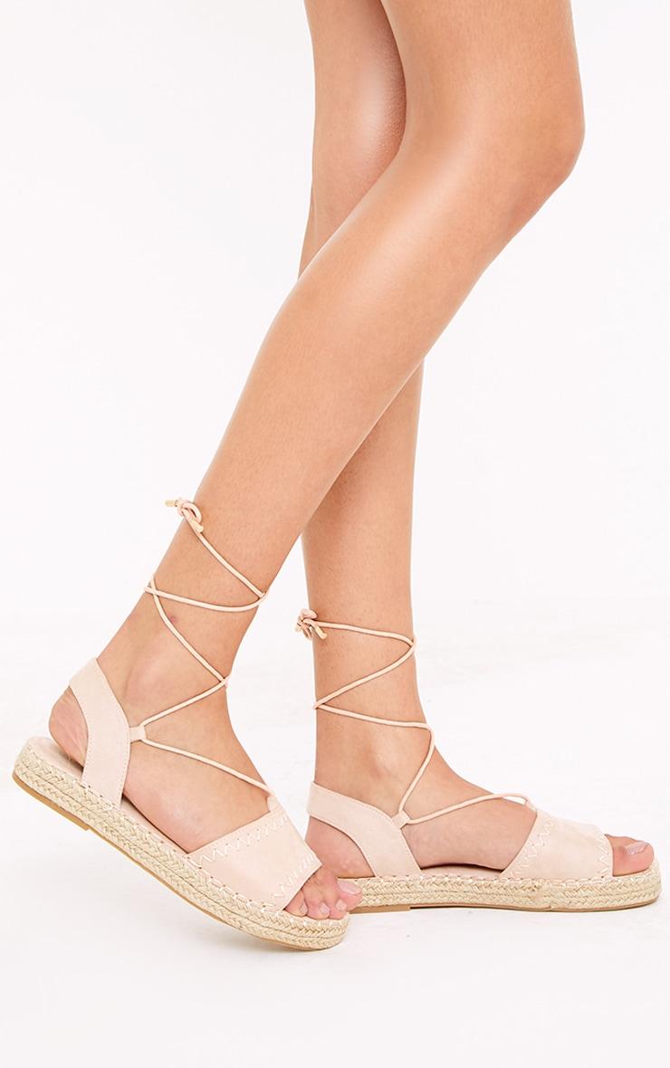 Rosina Blush Lace Up Espadrille Sandals 1