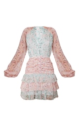Multi Mixed Floral Chiffon Ruched Frill Skater Dress 5