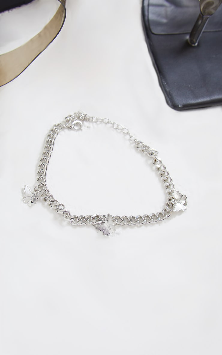 Silver Dainty Chain Multi Butterfly Anklet 3