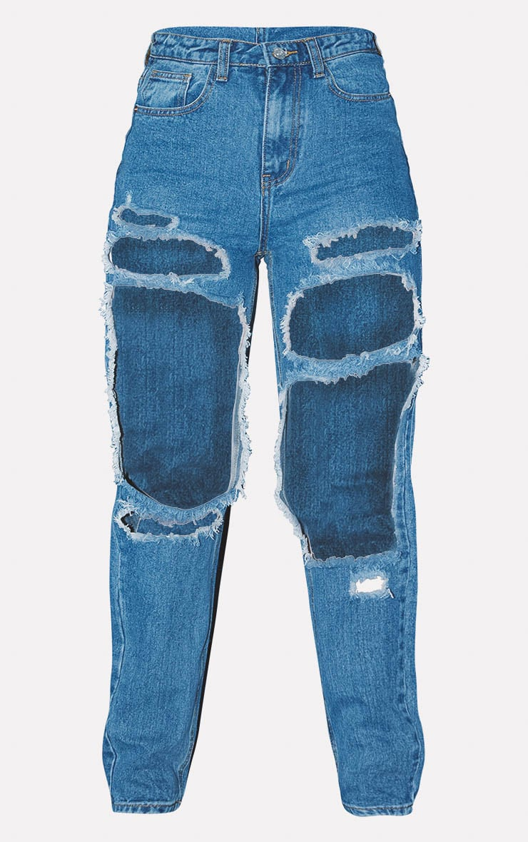PRETTYLITTLETHING Mid Blue Open Thigh Mom Jean 3