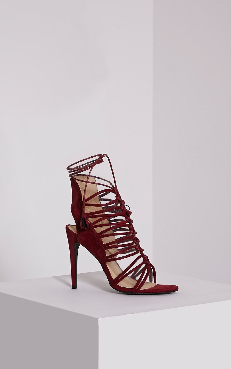 Angelina Bordeaux Strappy Detail Heeled Shoes 3