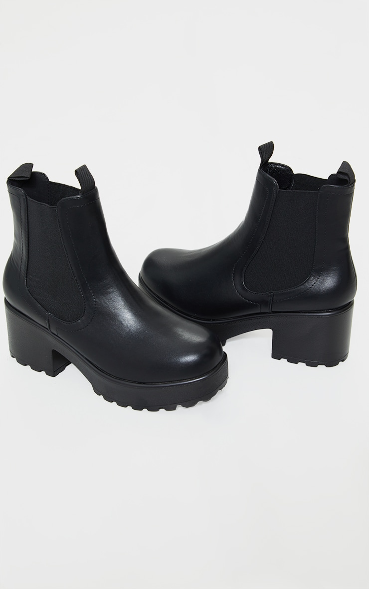 Black Matte Chunky Sole Chelsea Ankle Boot 4