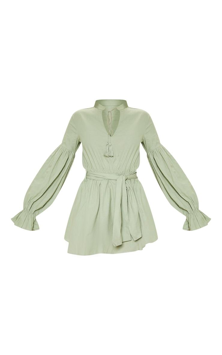 Sage Green Balloon Sleeve Tie Skater Dress 3