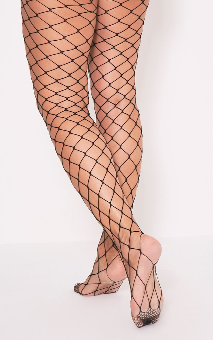 Inari Black Large Fishnet Tights 3