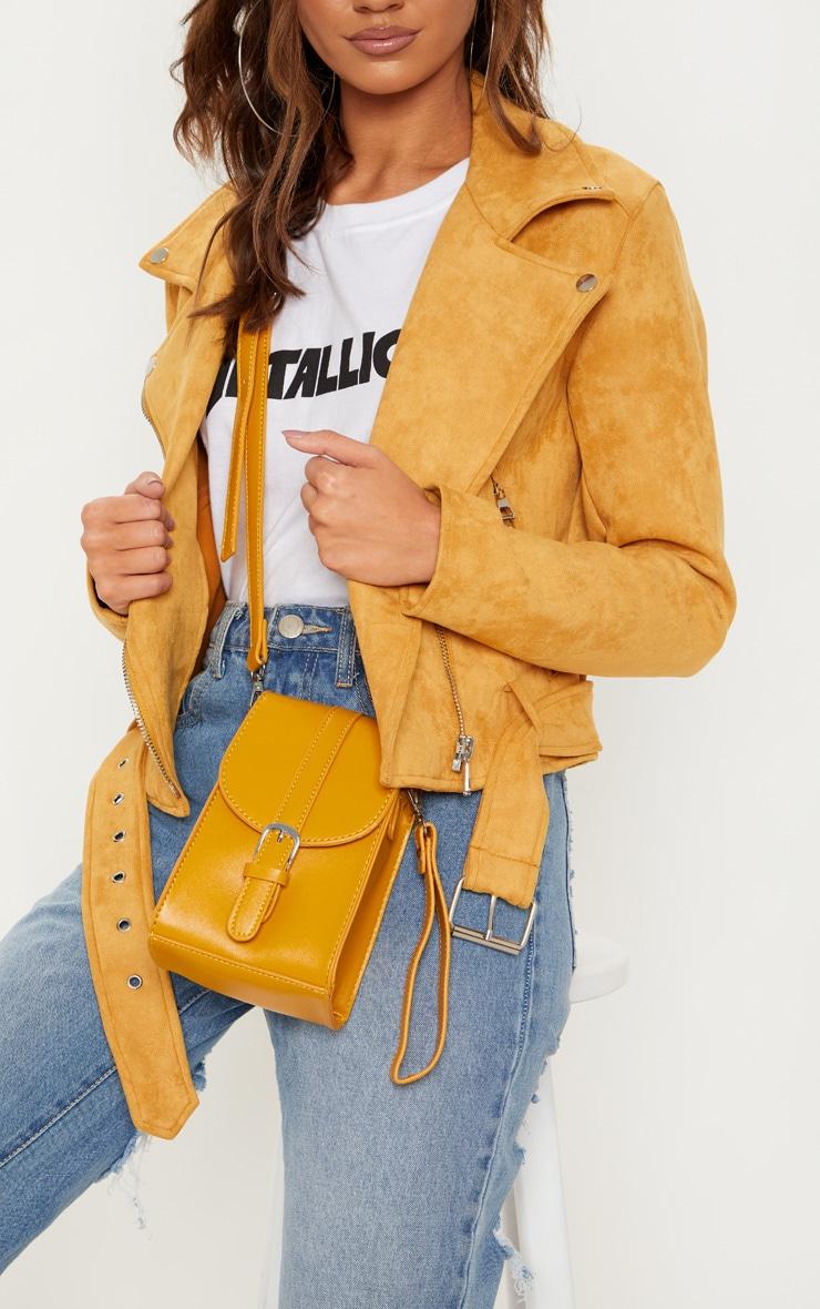 Mustard Faux Suede Biker Jacket 5