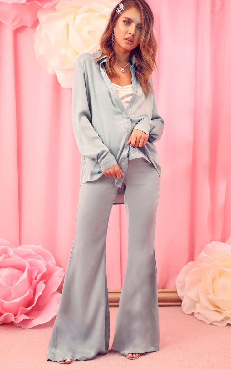 Mint Satin Oversized Shirt 4