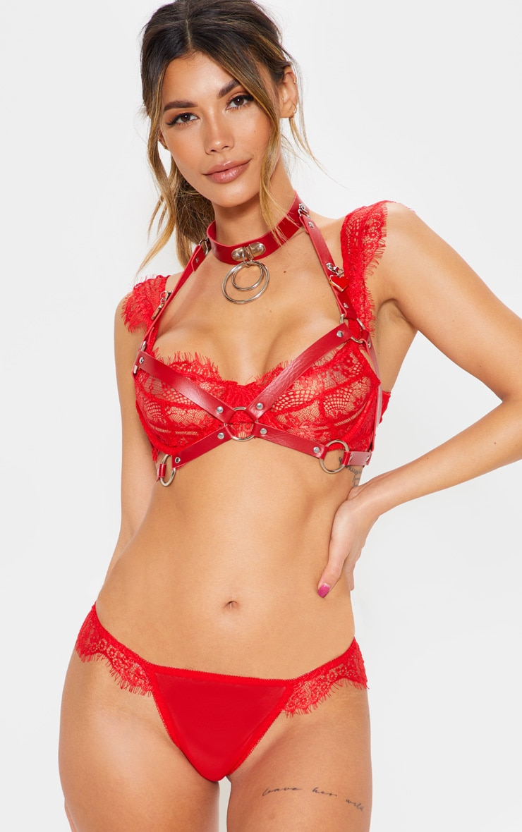 Red Faux Leather And Heart Bralet Harness 1