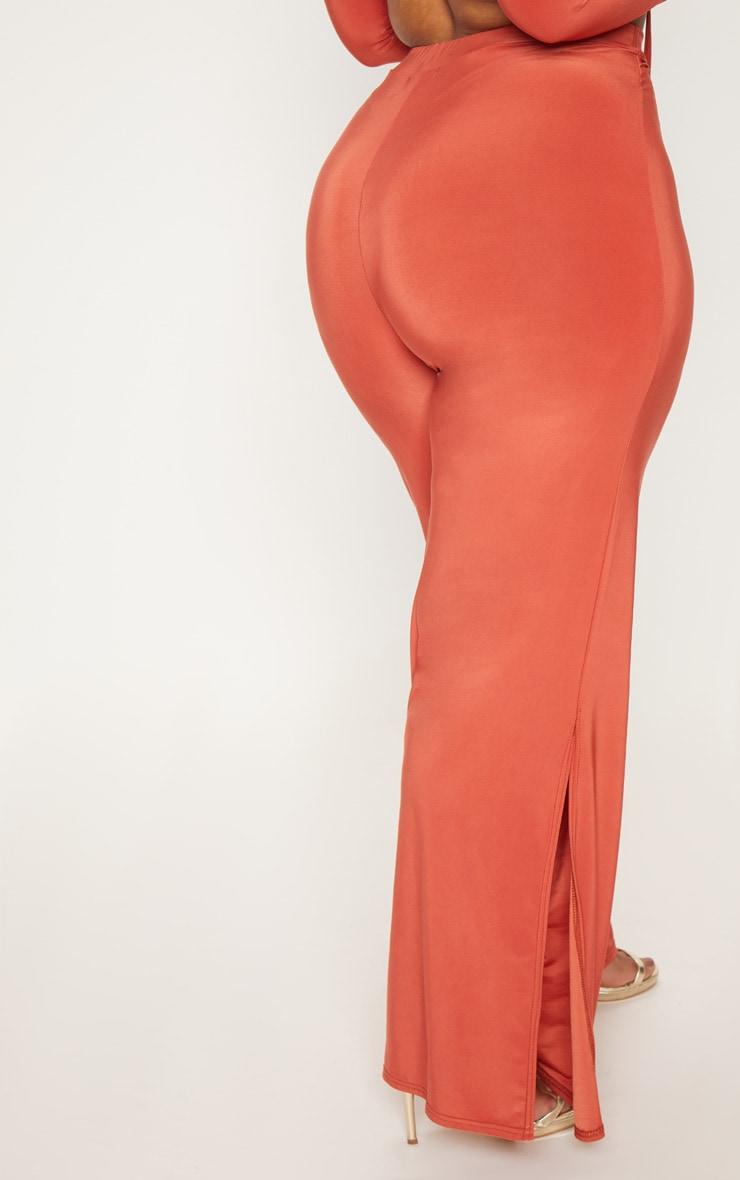 Plus Rust Slinky Wide Leg Trousers 4
