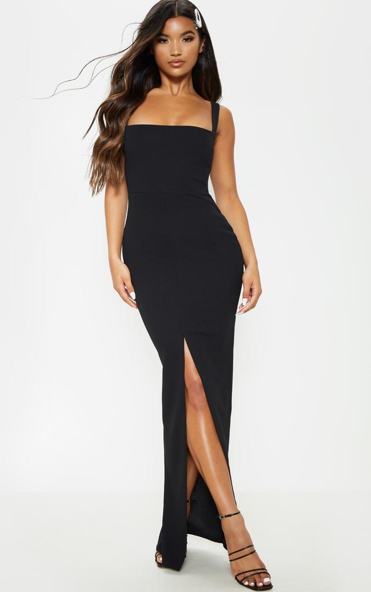 Black Square Neck Front Split Maxi Dress Prettylittlething