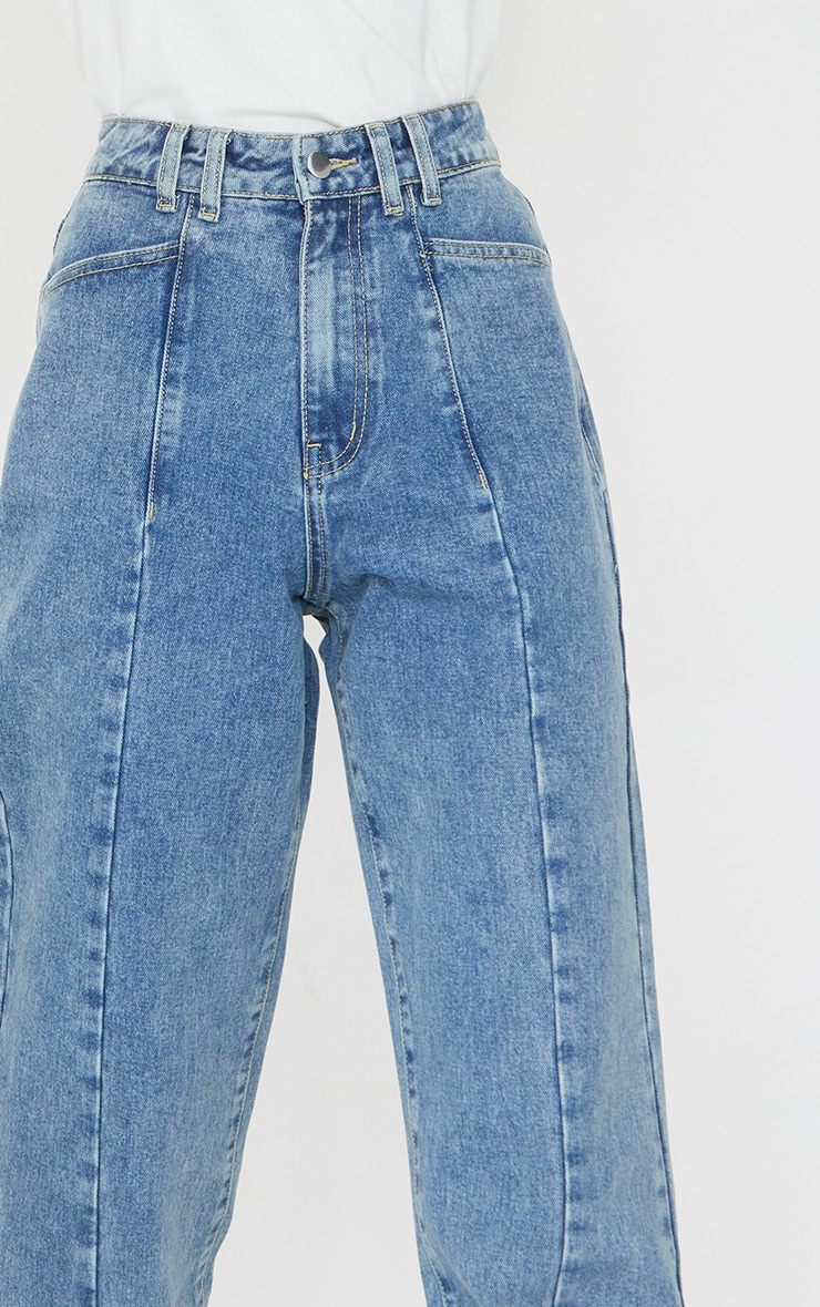 Vintage Wash Seam Front Wide Leg Jean 4