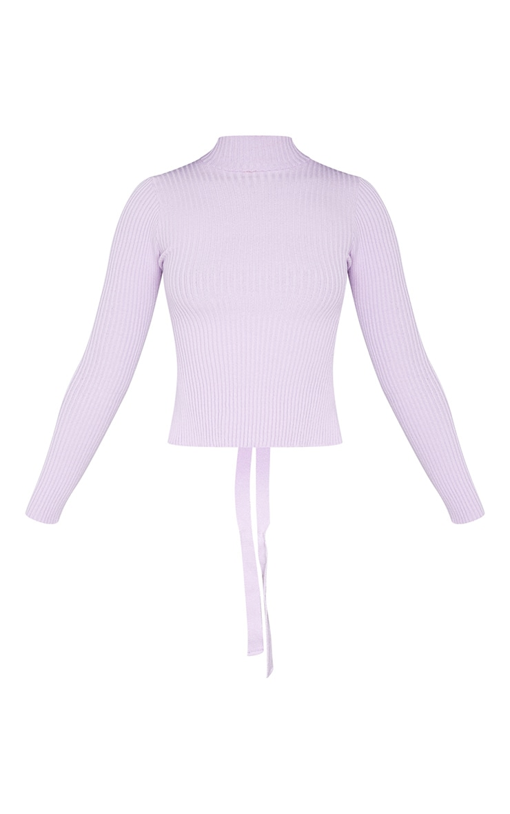 Lilac Tie Back Knitted High Neck Top 5
