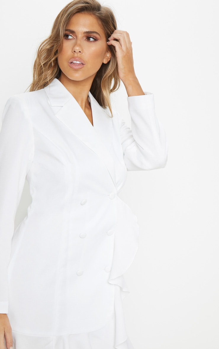 White Frill Detail Blazer Dress 5