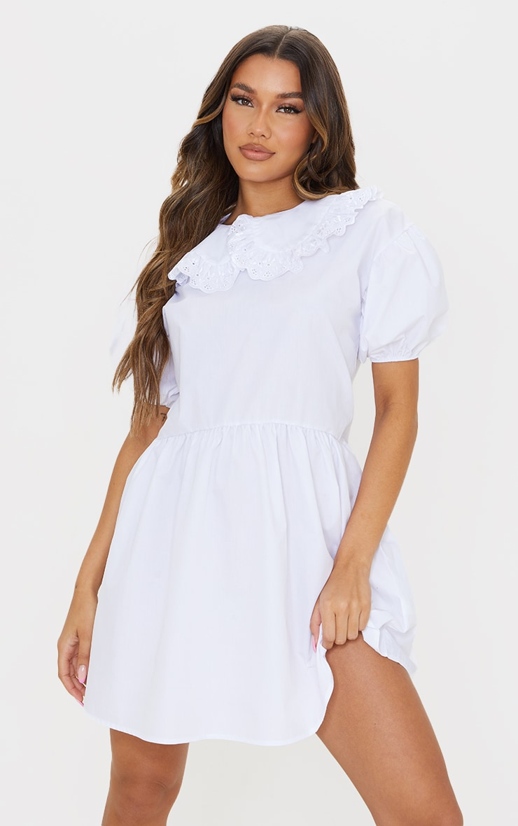 White Embroidered Frill Collar Short Puff Sleeve Smock Dress 1