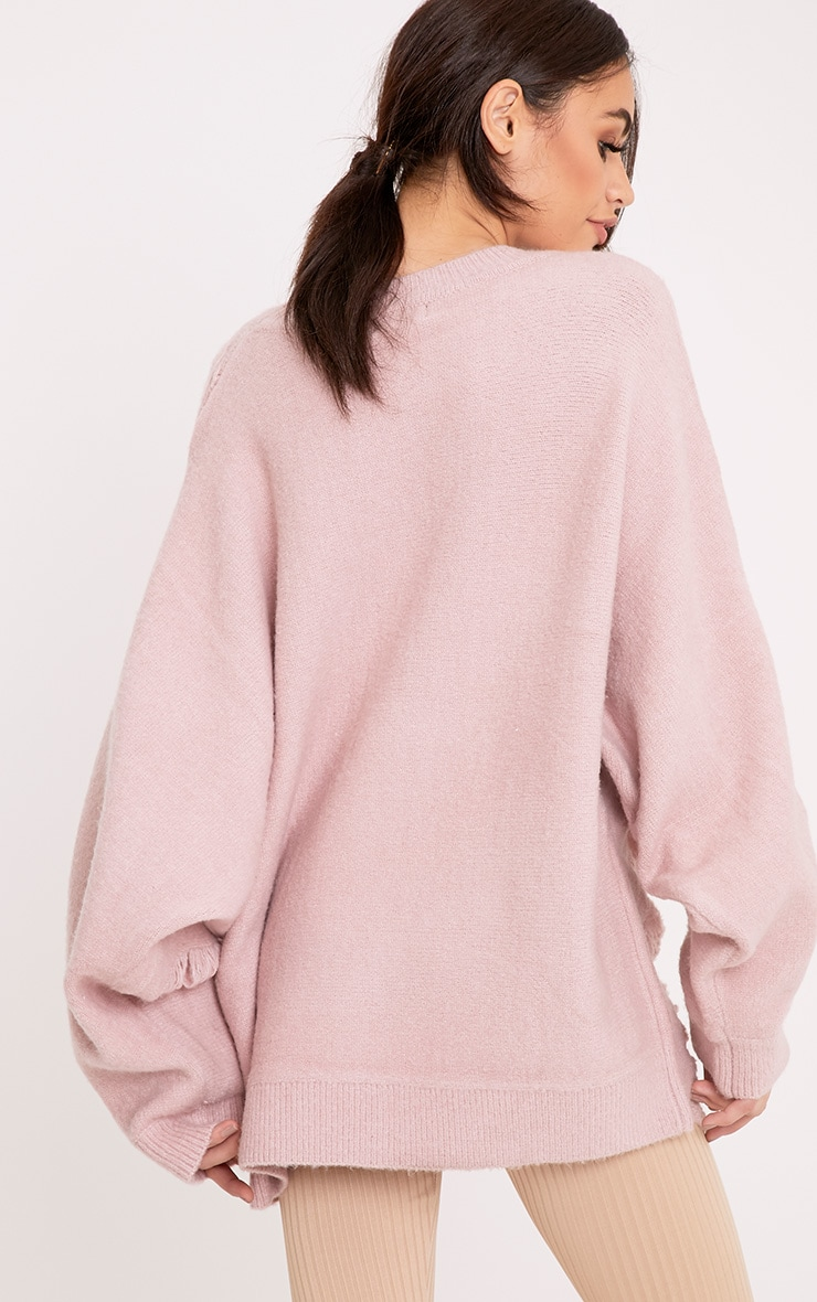 Raysha Blush Distressed Over Sized Knitted Jumper 2