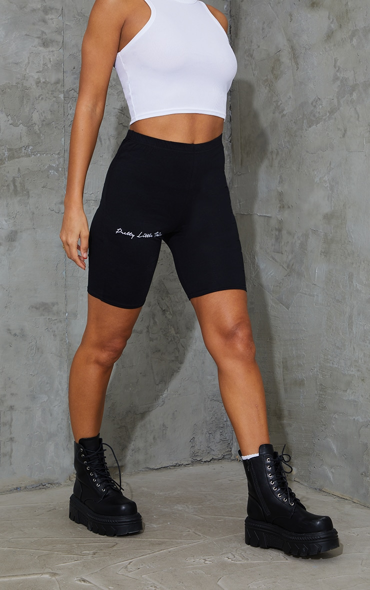 PRETTYLITTLETHING Black Embroidered Cycle Short 2