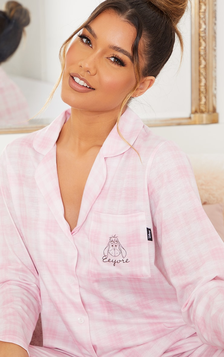 Pink Disney Eeyore Check Long Button Up PJ Set 4