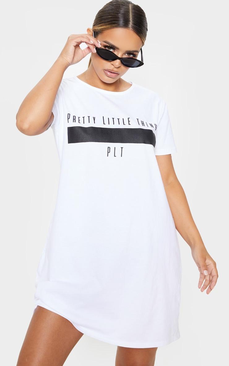PRETTYLITTLETHING Petite White Printed T Shirt Dress  1