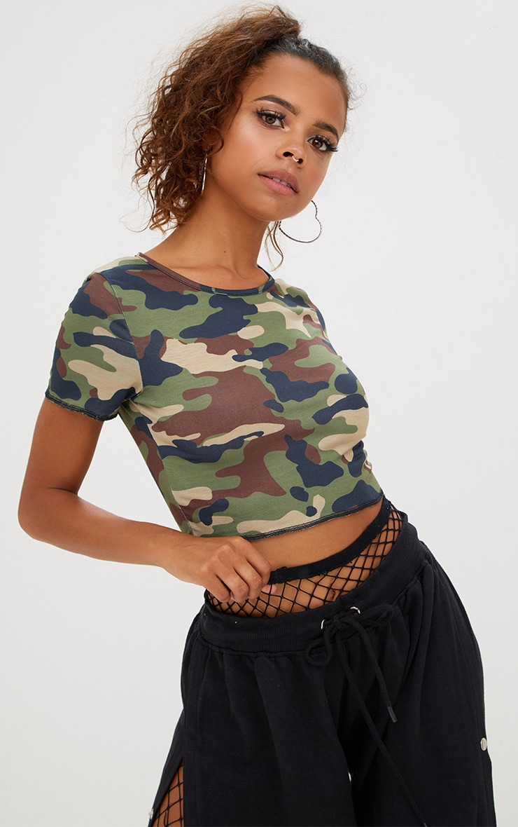 dd532cc239e Petite Camo Crop Top. Tops | PrettyLittleThing USA