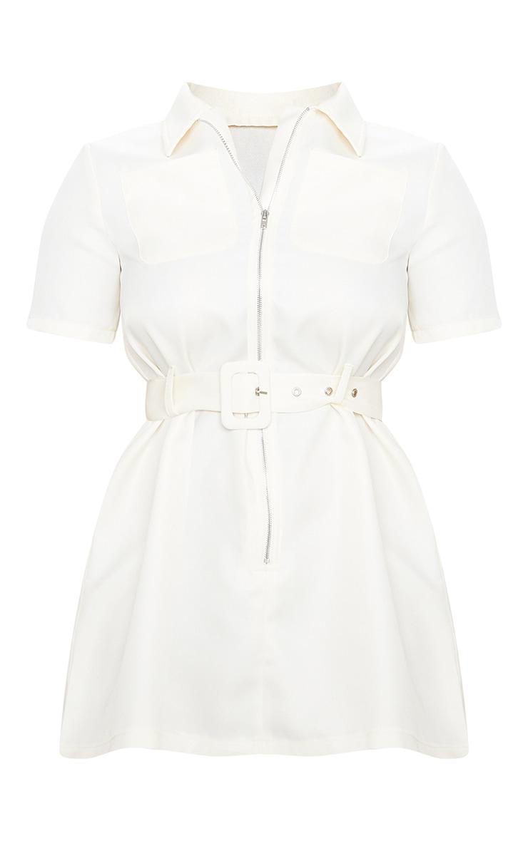Petite Ecru Zip Detail Belted Utility Dress  3