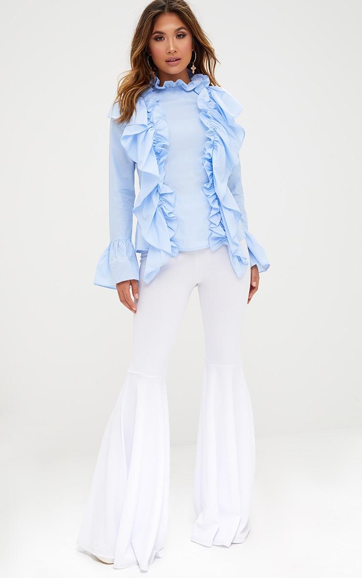 Blue Ruffle Frill High Neck Shirt 4