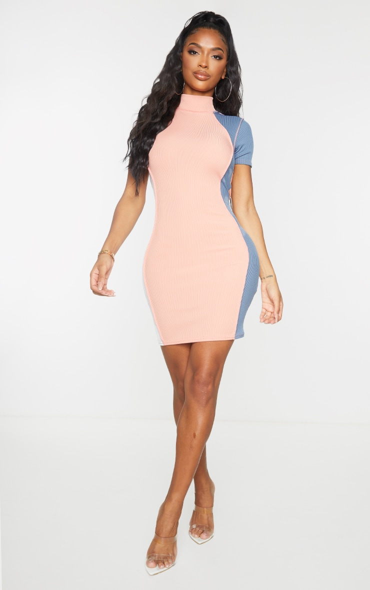 Shape Pink Rib Panel Stitch Detail Short Sleeve Bodycon Dress 3