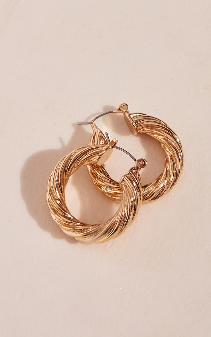 Gold Chunky Ribbed Twist Hoop Earrings 3