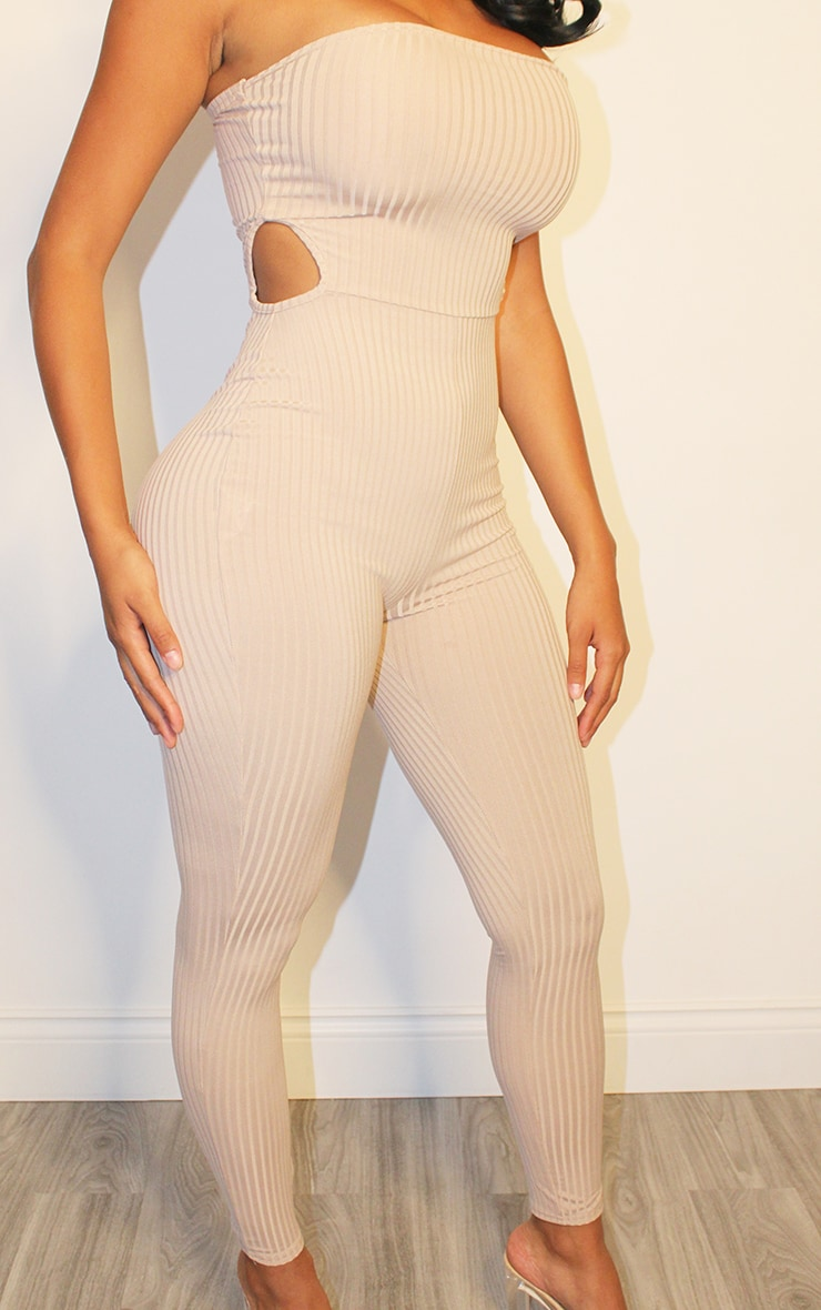 Shape Stone Rib Bandeau Cut Out Side Jumpsuit 4