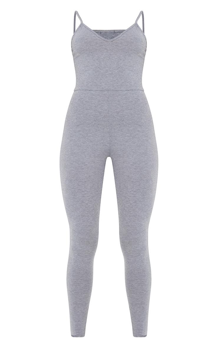 Basic Grey Marl Cotton Blend Basic Strappy Plunge Jumpsuit 5