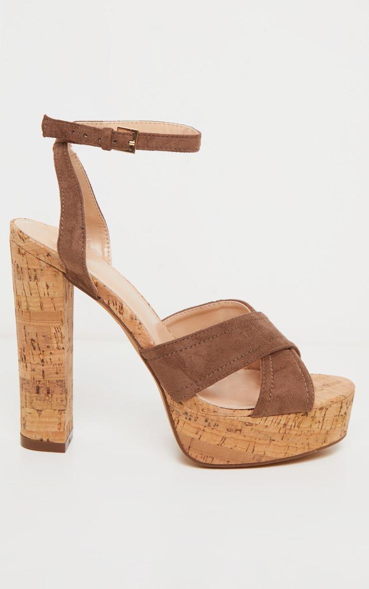 Taupe Cork High Platform Sandal 3