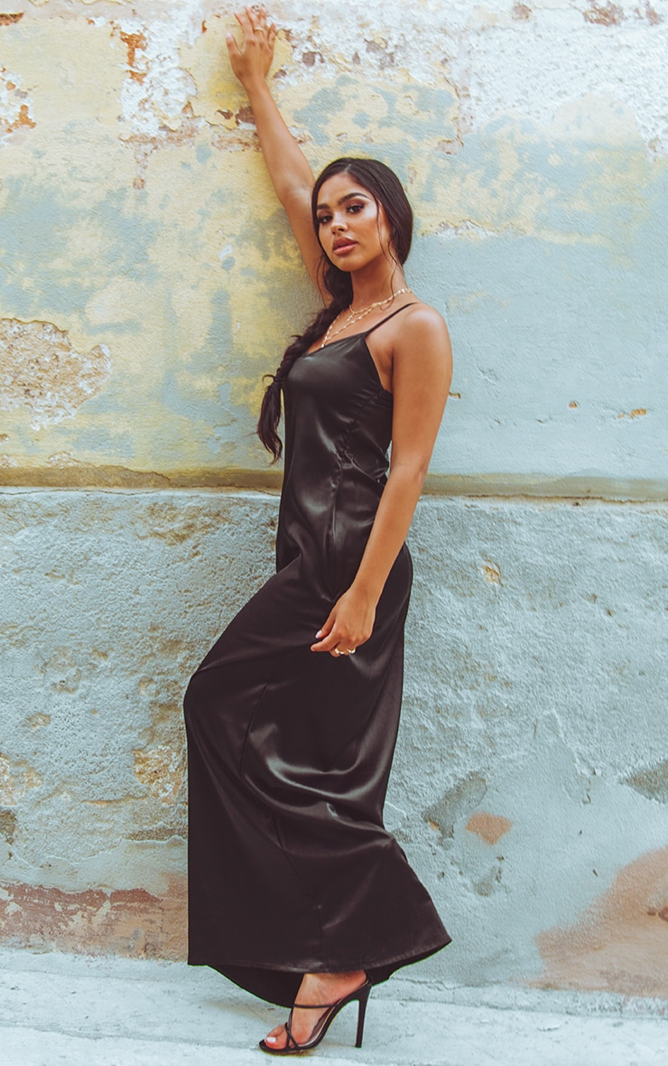 Black Satin V Neck Maxi Dress  4