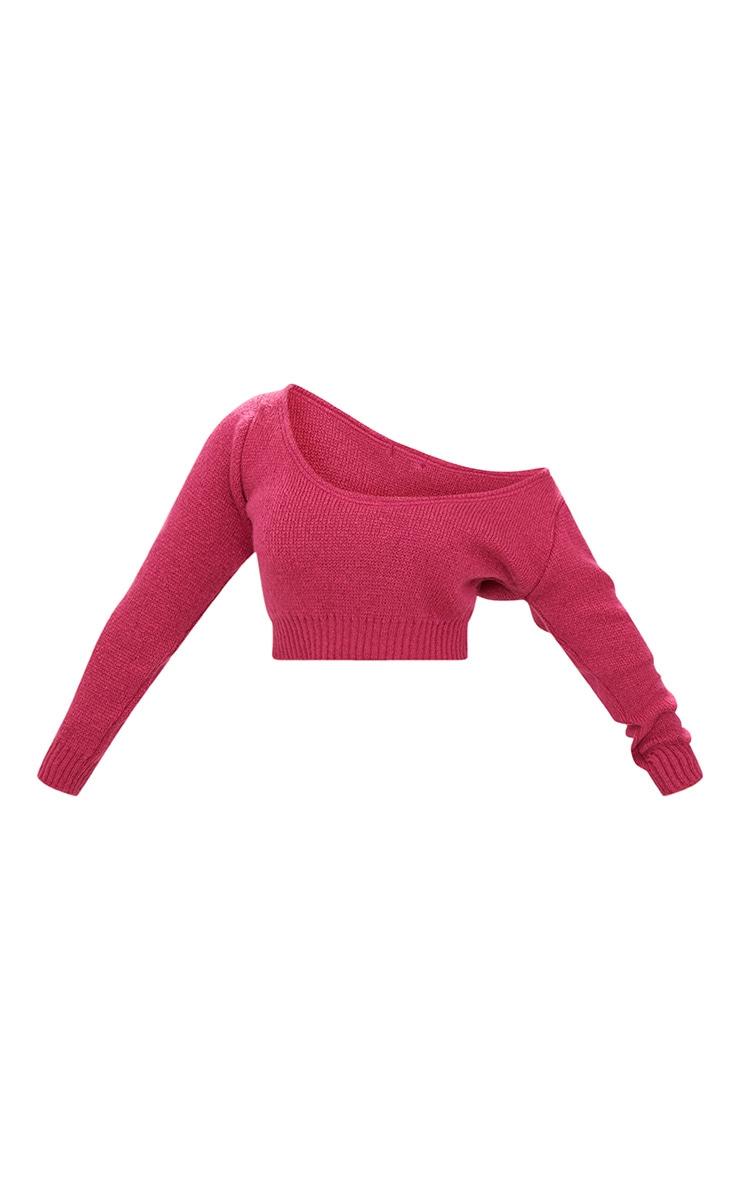 Raspberry V Neck Off Shoulder Knitted Cropped Jumper 3