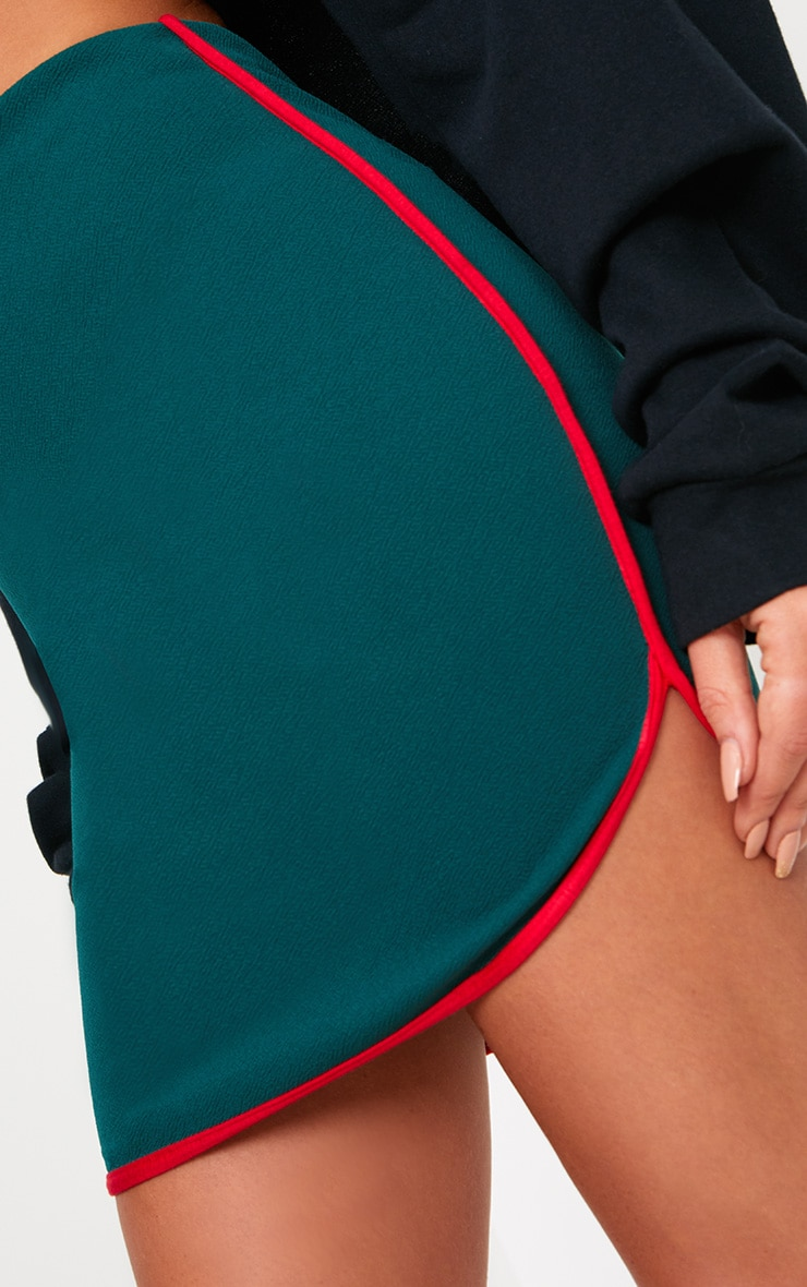 Forest Green Contrast Binding Runner Mini Skirt 6