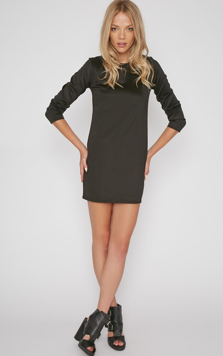Zelda Black Long Sleeved Scuba Dress 3