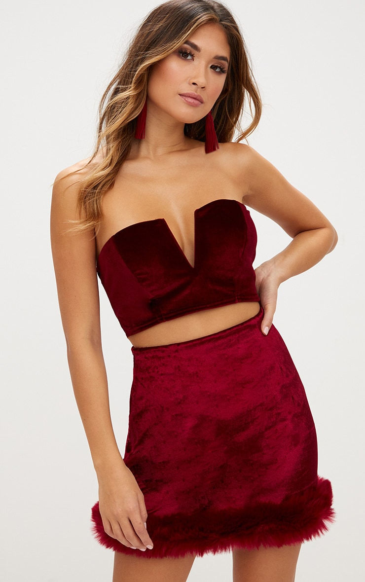 Burgundy Velvet Fur Trim Check Mini Skirt 1