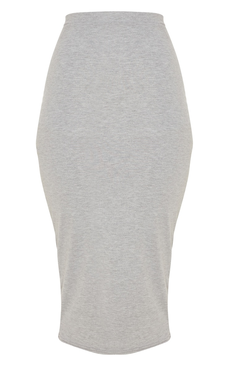 Grey Marl Ultimate Jersey Longline Midi Skirt 3