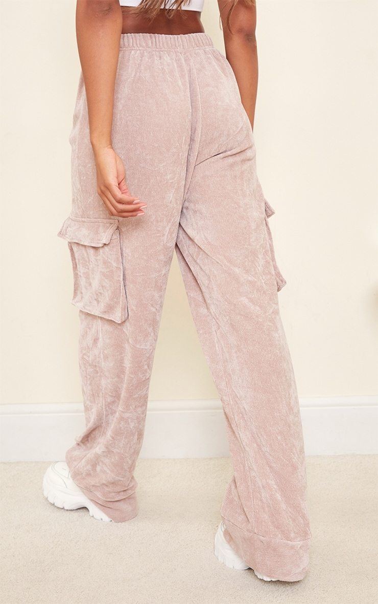 Taupe Rib Velour Pocket Detail Wide Leg Trousers 3