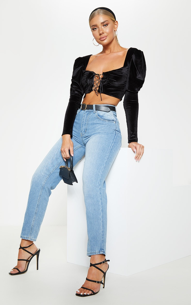 Black Velvet Hook And Eye Crop Top 4
