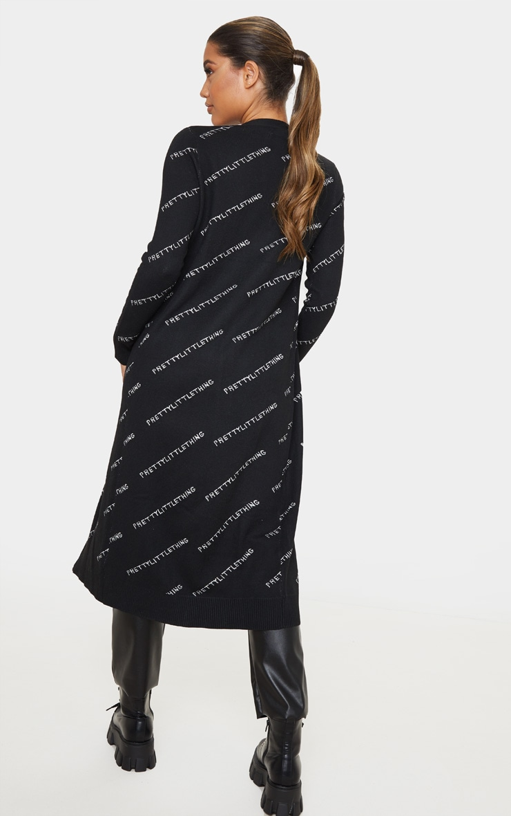 PRETTYLITTLETHING Black Longline Cardigan 2
