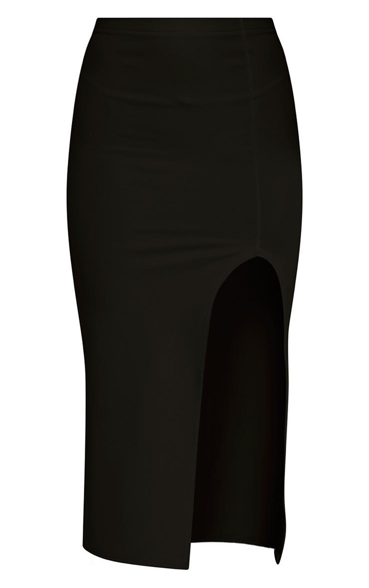 Salia Black High Split Midi Skirt 3