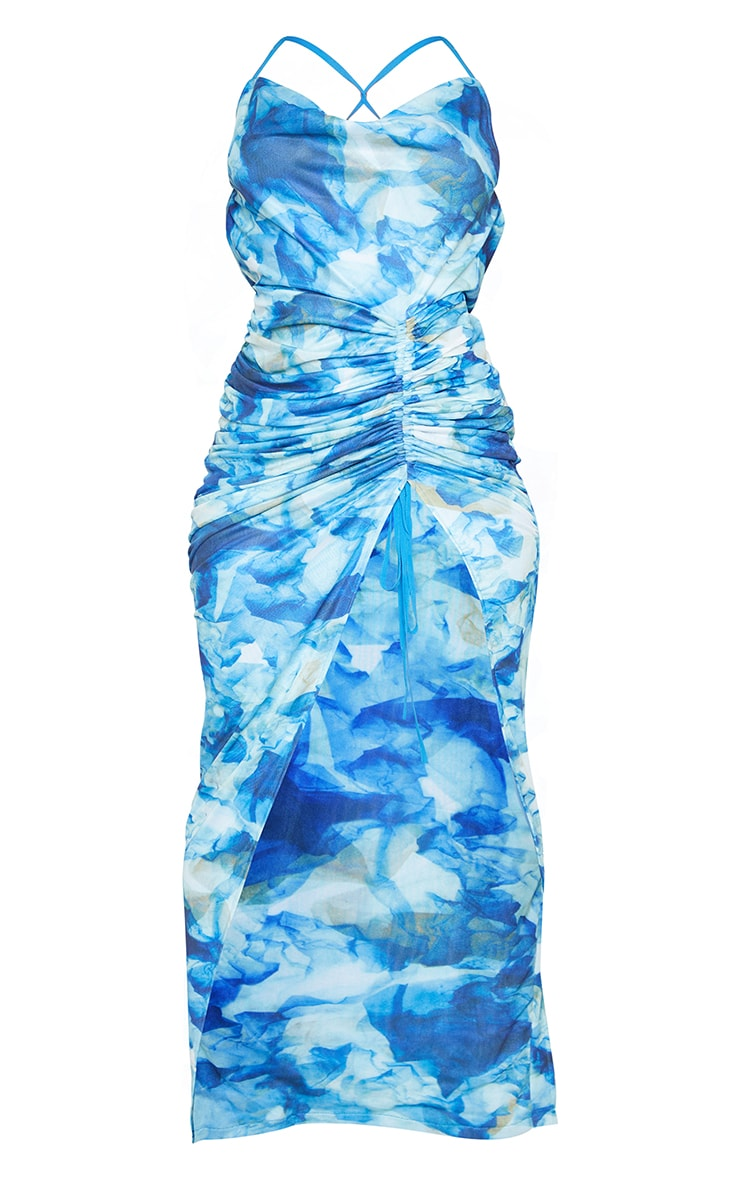 Blue Tie Dye Cowl Neck Strappy Back Ruched Maxi Dress 5