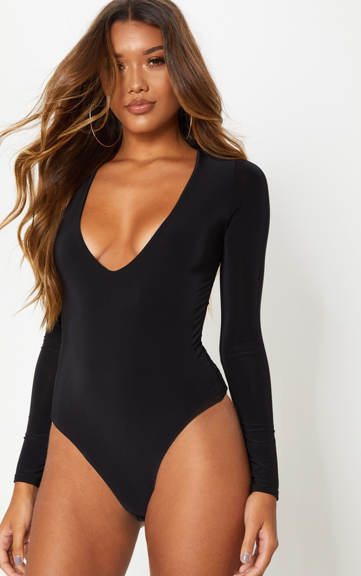 Black V Neck Slinky Bodysuit 3