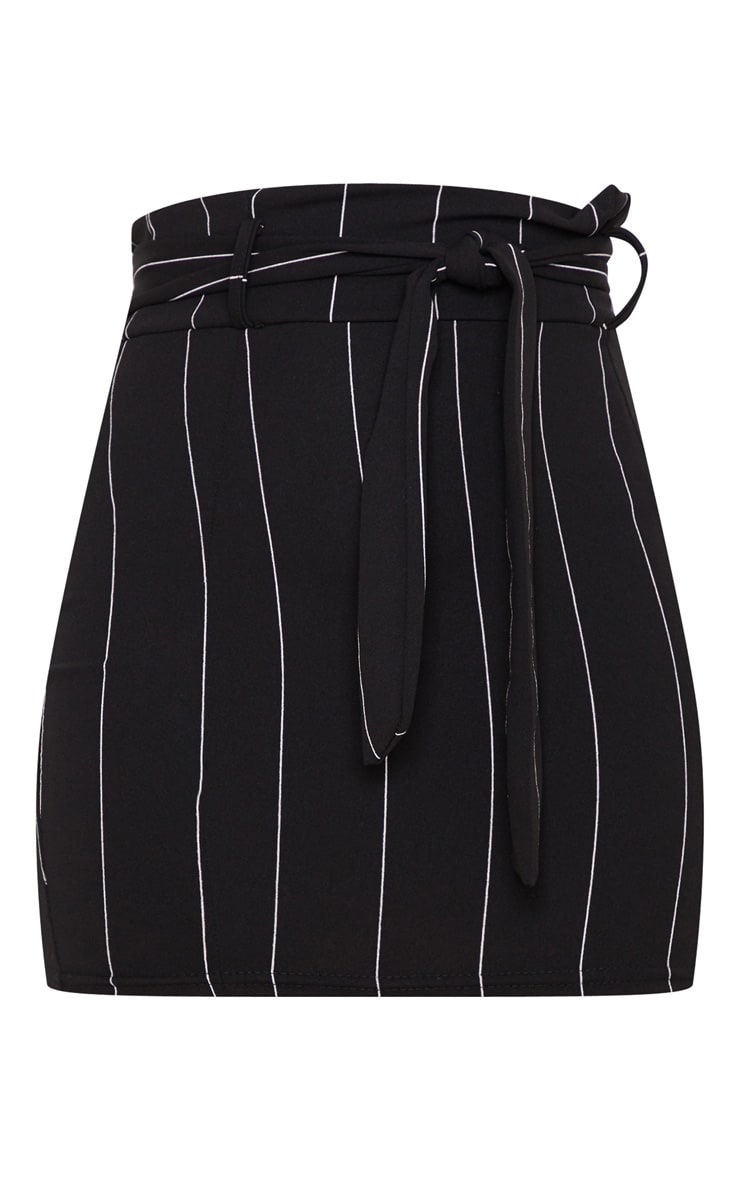 Black Pinstripe Tie Waist Mini Skirt 3