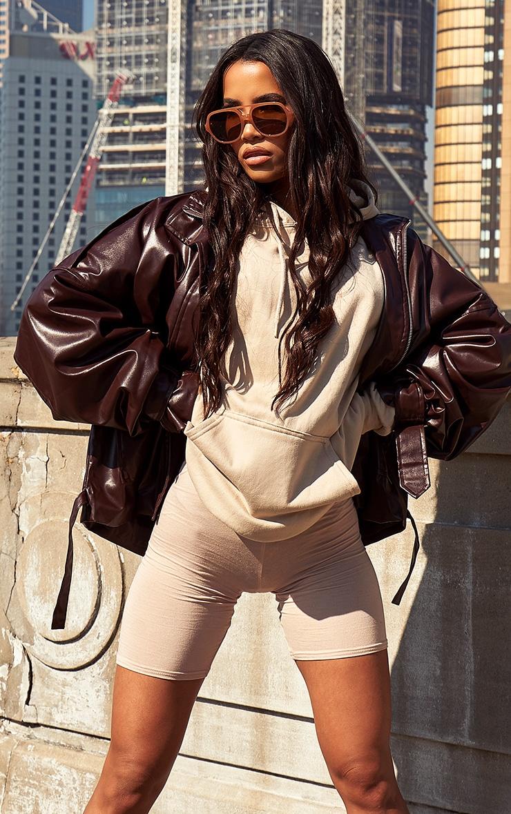 Chocolate Faux Leather Extreme Oversized Biker Jacket 1