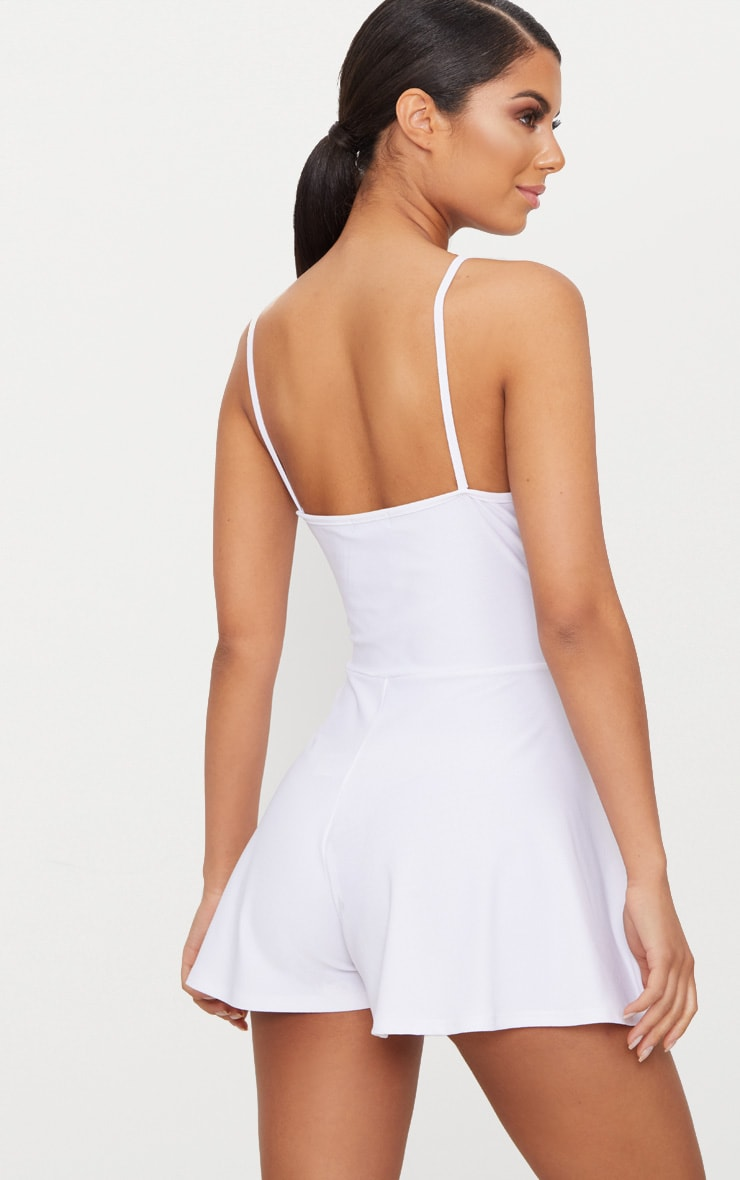 White Crepe Strappy Wrap Playsuit 2