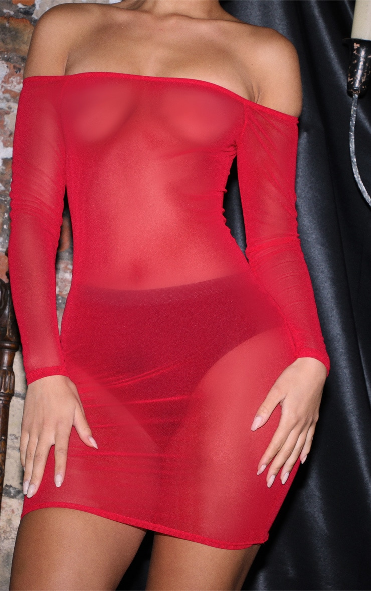 Red Bardot Mesh Bodycon Dress 5