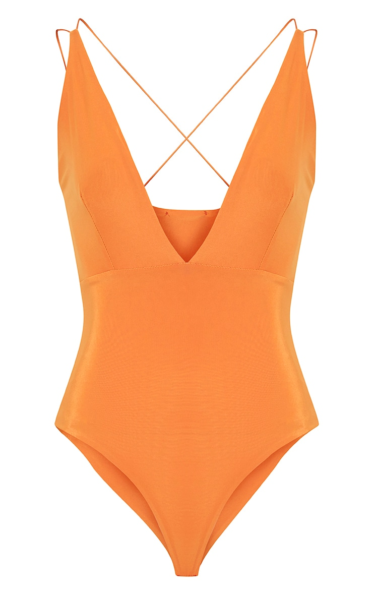 Angela Bright Orange Cross Back Slinky Bodysuit 3