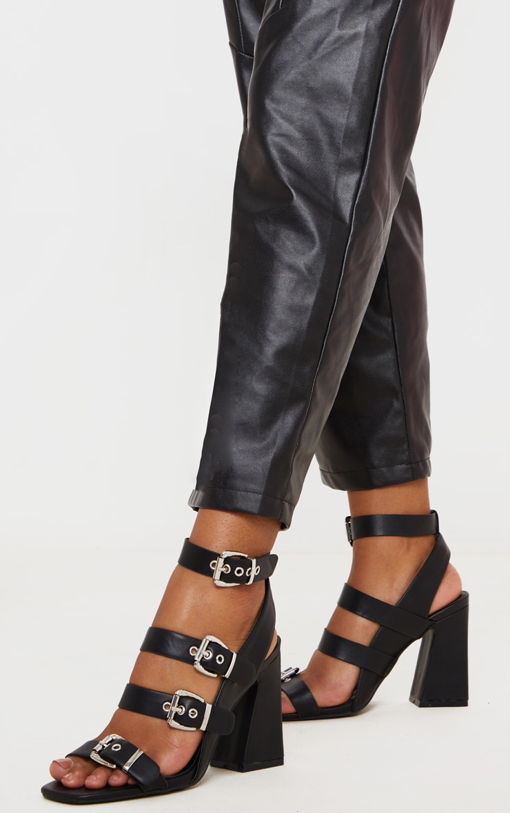 Black Block Heel Multi Buckle Sandals 1