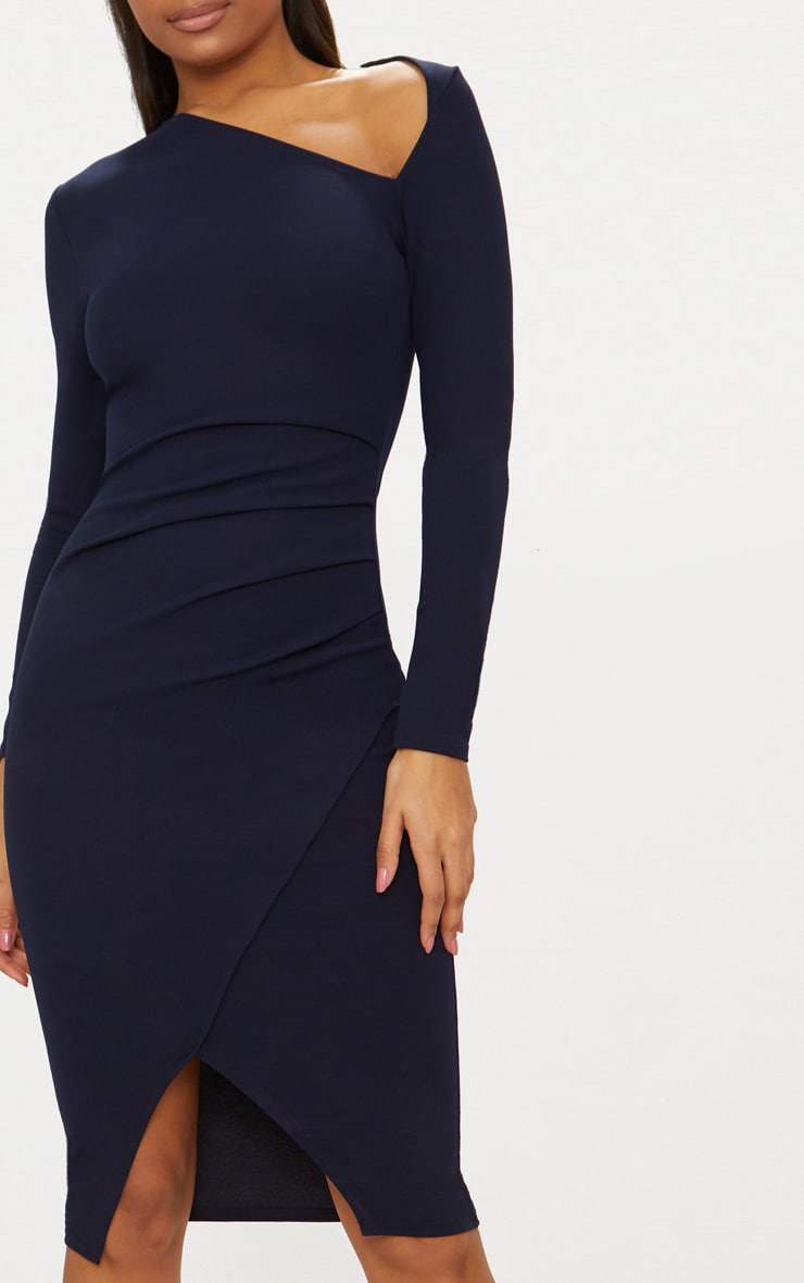 Navy Asymmetric Neck Pleated Wrap Midi Dress 5